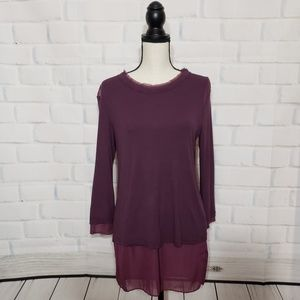 H by Bordeaux Double-Layer Top
